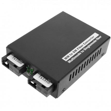 Conversor de fibra óptica - Adaptador Tx1310nm/Rx1550 MM 2km a Tx1310nm/Rx1550 SM 20km SC 1000m