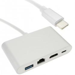 Conversor de USB 3.1 tipo C a HDMI y ethernet RJ45 y USB-A y USB-C