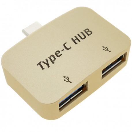 Concentrador hub OTG USB 2.0 USB tipo C a 2 puertos USB tipo A