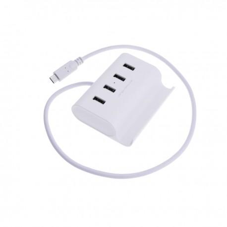 Concentrador USB de 4 puertos con USB-C reversible
