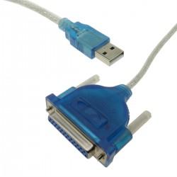 Cable conversor de USB a puerto paralelo A macho a DB25 hembra 1.5 m