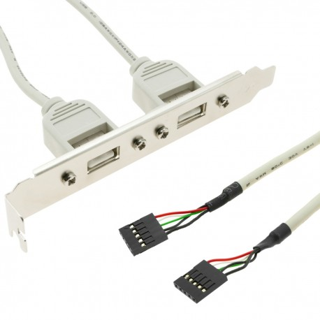 Adaptador USB de placa madre 2x5 pin a 2xAH bracket