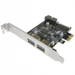 Tarjeta PCIe a SuperSpeed USB 3.0 con 2 puertos externos y 1 interno de 19 pines