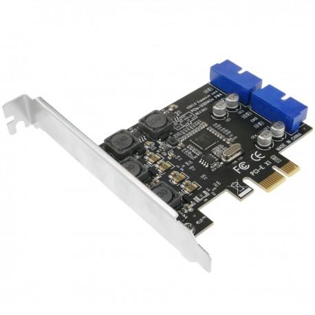 Tarjeta PCIe con 2 conectores internos USB 3.0 de 19 pines