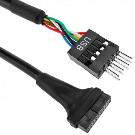 Adaptador de placa USB 3.0 HS20 de 20-pin hembra a conector USB 2.0 de 5-pin macho