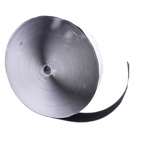 Bobina de cinta adherente adhesiva de 50mm x 25m de color negro cara de garfío
