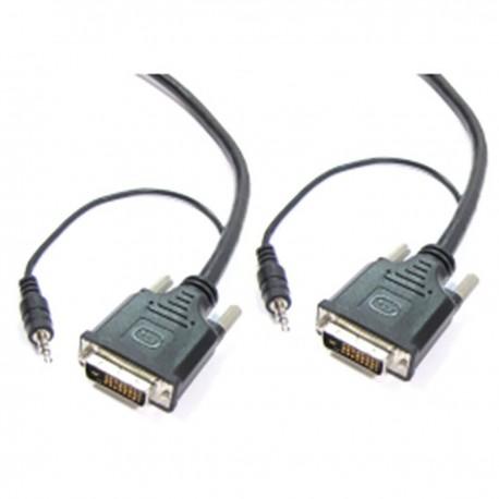 Super cable DVI-D con jack de audio de 3,5 mm macho macho de 15 m