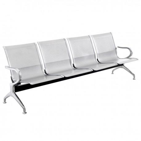 Bancada para sala de espera con sillas ergonómicas plateadas de 4 plazas