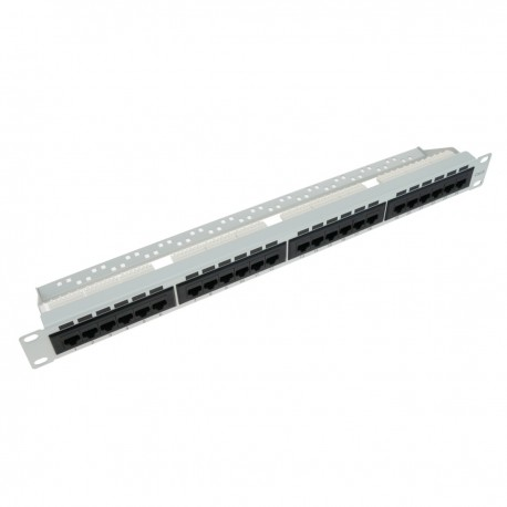 Patch panel 24 RJ45 Cat.6 UTP 1U blanco con peine