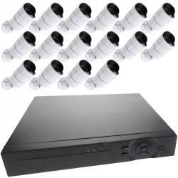 Kit de video vigilancia DVR con 16 cámaras peana compatible HDMI VGA CVBS IP