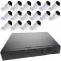Kit de video vigilancia DVR con 16 cámaras peana compatible HDMI VGA CVBS IP