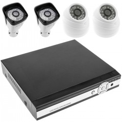 Kit de video vigilancia DVR con 4 cámaras peana y domo compatible HDMI VGA CVBS IP RS485