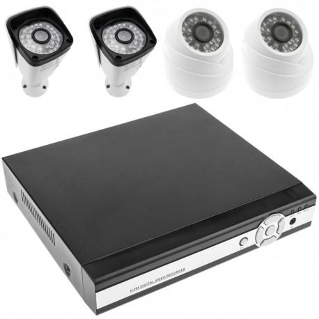 Kit de video vigilancia DVR con 4 cámaras peana y domo compatible HDMI VGA CVBS IP RS485