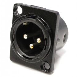 Conector XLR3 3-pin macho de plástico para chapa