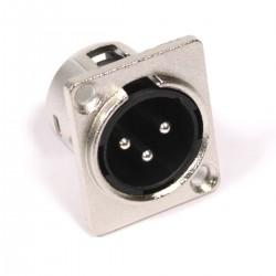 Conector XLR3 3pin macho metálico chapa
