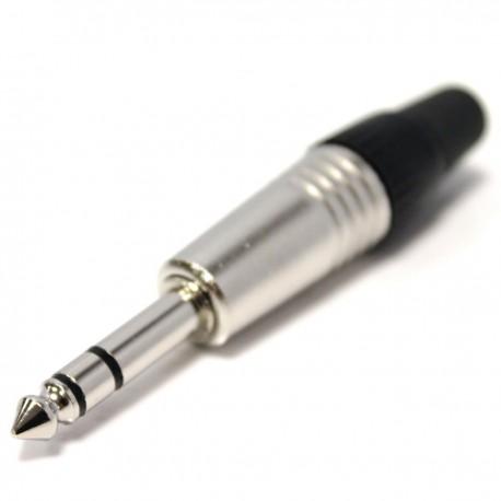 Conector jack 6.3mm macho estéreo TRS metal