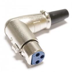 Conector XLR3 3pin hembra metálico con ángulo