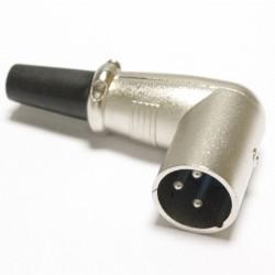 Conector XLR3 3pin macho metálico con ángulo
