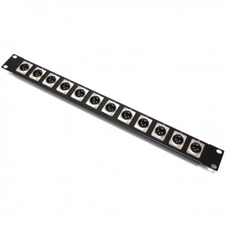 Patch panel rack19 12-port XLR3-macho 1U
