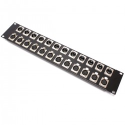 Patch panel rack19 12-port XLR3-macho 12-port XLR3-hembra 2U