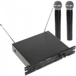 """Micrófonos inalámbricos de mano 2 unidades compatible rack 10"""" VHF 200 - 280 MHz"""
