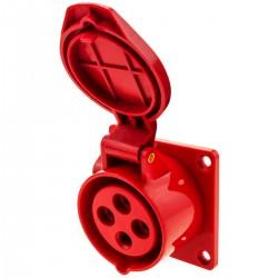 Base de enchufe industrial CETAC hembra 2P+T 16A 380V IP44 IEC-60309 para empotrar