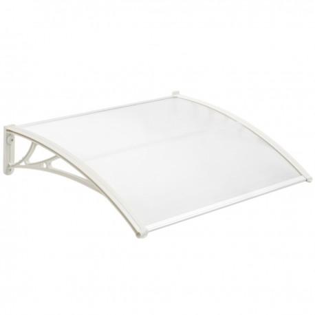 Tejadillo de protección 100x60 cm transparente. Marquesina para puertas y ventanas con soporte blanco