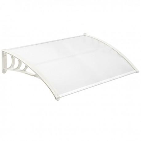 Tejadillo de protección 120x80 cm transparente. Marquesina para puertas y ventanas con soporte blanco