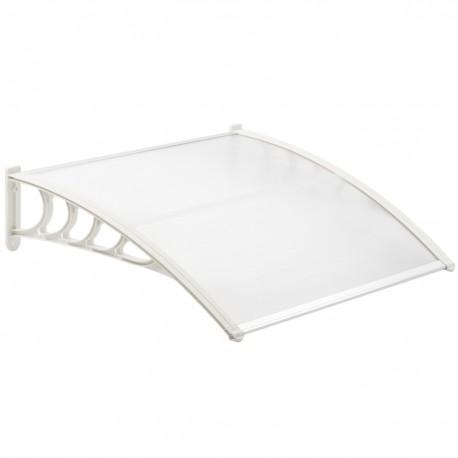 Tejadillo de protección 120x90 cm transparente. Marquesina para puertas y ventanas con soporte blanco