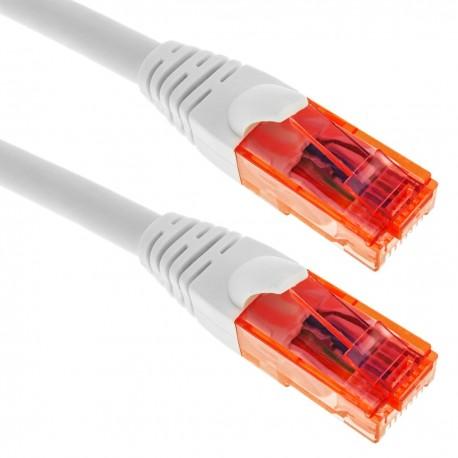 Cable de red ethernet LAN RJ45 UTP 24 AWG Ultra flexible Cat. 6A blanco 3 metros