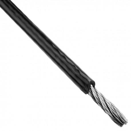 Cable de acero inoxidable de 6 mm. Bobina de 25 m. Recubierto de plástico negro