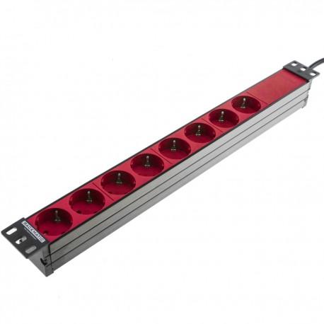 """Regleta de enchufes rojos para armario rack 19"""" 1U con 8 schuko permanentes"""