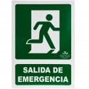 Cartel de salida de emergencia a la derecha. Señal luminiscente de 21 x 30 cm