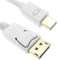 Cable Displayport a Mini Displayport 2K 4K 1080p FullHD para audio y vídeo digital 2m blanco