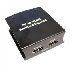Adaptador de DisplayPort 1 x DP a 2 x HDMI con función de videowall de 2 puertos