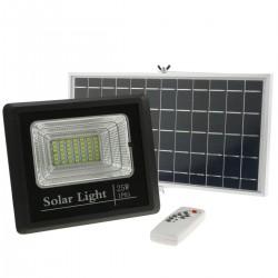 Foco de luz LED de 25W para exterior IP65 con batería recargable 5000 mAh y panel solar