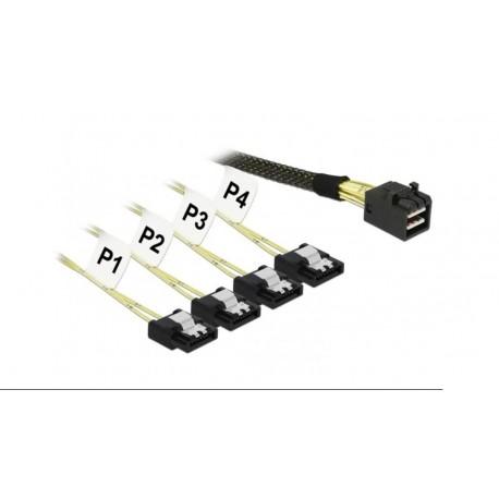 Cable interno SAS HD SFF 8643 x4 -4x SATA 1m