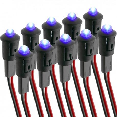 Luz LED piloto de 8mm 12VDC de color azul 10-pack