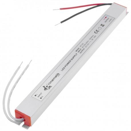 Fuente de alimentación plana de superficie para LED. Transformador eléctrico industrial 12VDC 1.5A. Tamaño 18 x 208 x 15 mm