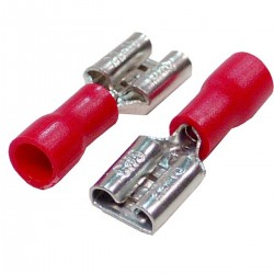 Terminal Faston hembra rojo de 6.3mm 100-Pack