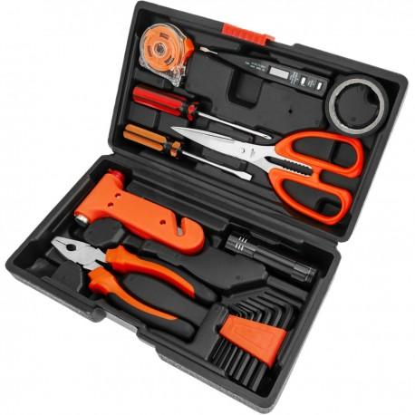 Juego de herramientas básicas de 10 piezas. Destornillador, alicates, cinta métrica, tijeras, etc.