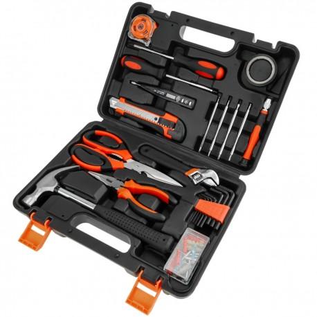 Juego de herramientas básicas de 17 piezas. Destornillador, alicates, martillo, cinta métrica, etc.