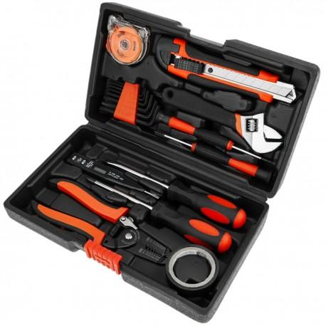 Juego de herramientas básicas de 11 piezas. Destornillador, pelacables, cinta métrica, llave inglesa, etc.
