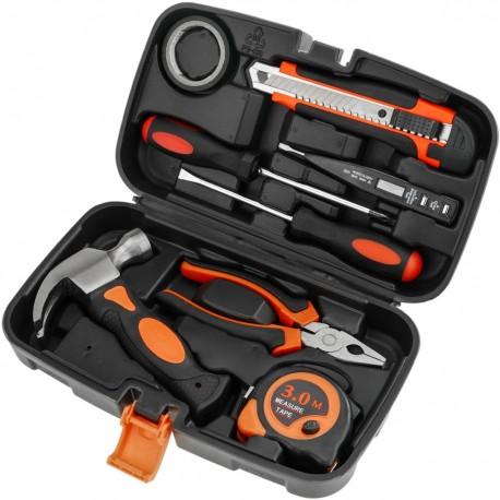 Juego de herramientas básicas de 8 piezas. Destornillador, alicates, martillo, cinta métrica, etc.