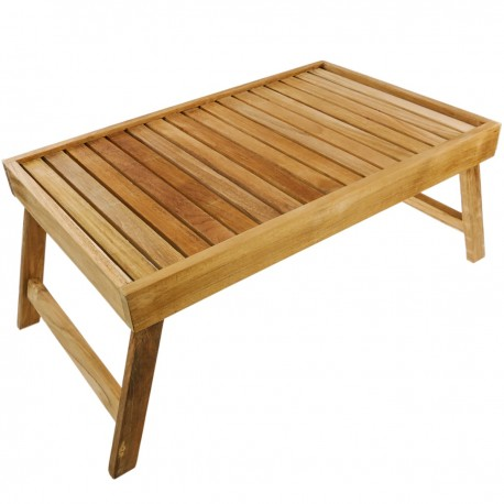 Bandeja para cama 55 x 35 x 4.8 cm plegable de madera de teca certificada
