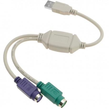 Adaptador USB a PS2 (1 USB-A macho a 2 MiniDIN 6-pin hembra)