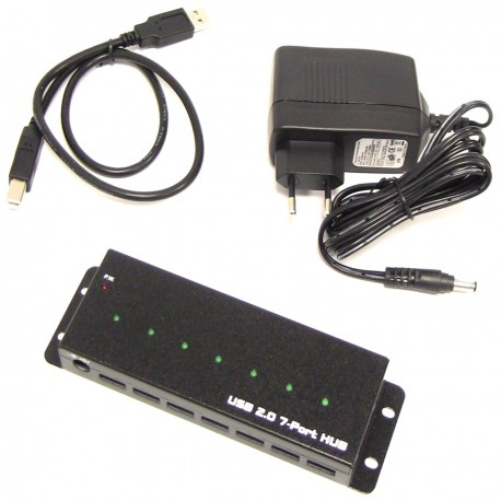 Concentrador USB 2.0 industrial de 7 puertos AH