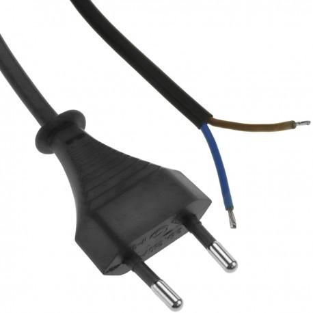 Cable de alimentación eléctrico HO3VVH2-F de enchufe bipolar a bornes 2 x 0.75 mm² negro
