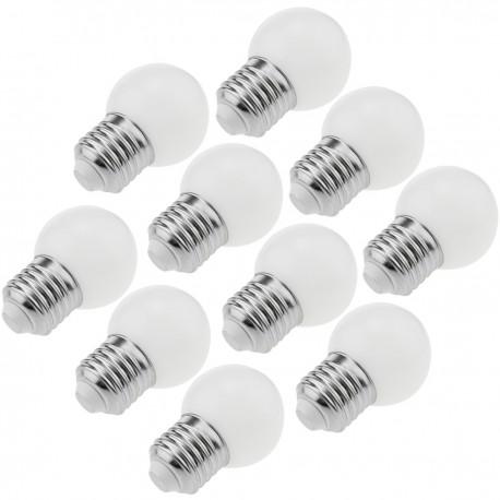 Bombilla LED G45 E27 230VAC 0,5W luz blanco cálido 10 unidades