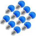 Bombilla LED G45 E27 230VAC 0,5W luz azul 10 unidades